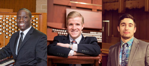 Organists Nathaniel Gumbs, Grant Wareham, and Chase Loomer