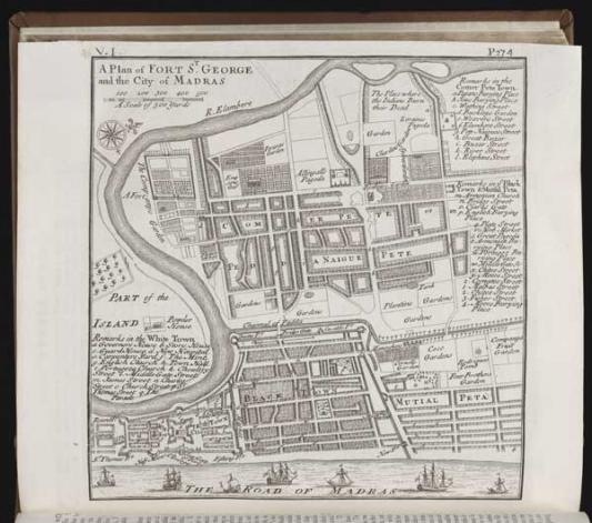 Map of Madras and the Fort of S. George, ca 1739, Beinecke Rare Book & Manuscript Library