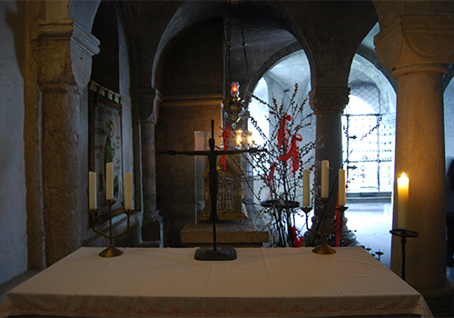 View in chapel with cross and candles