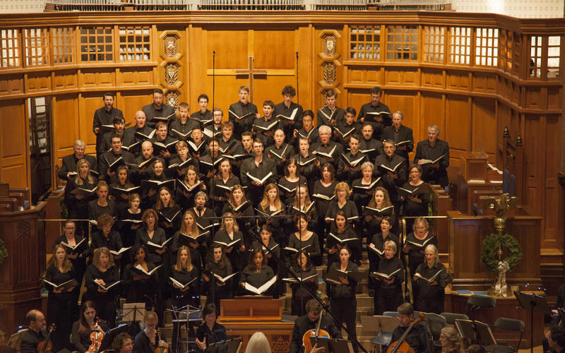 Camerata singing in Battell Chapel