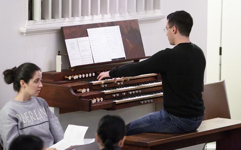 rehearsal in the organ loft