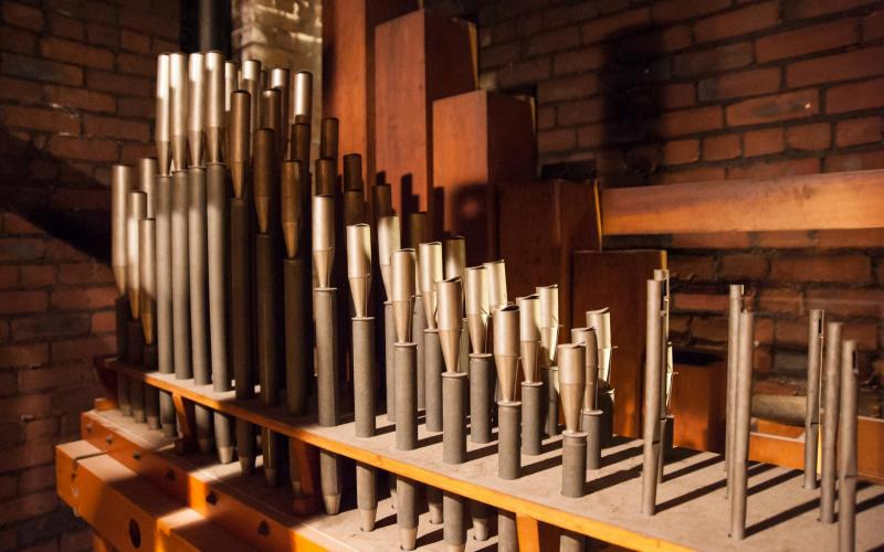Woolsey organ Vox Humana pipes pre-restoration