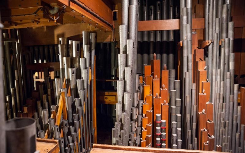 Woolsey organ swell pipes pre-restoration