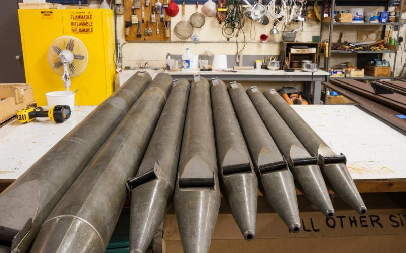 Woolsey organ bass pipes in shop