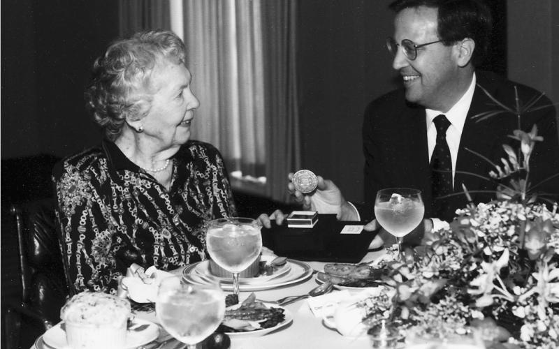 Clementine Miller Tangeman with Yale President Richard Levin.