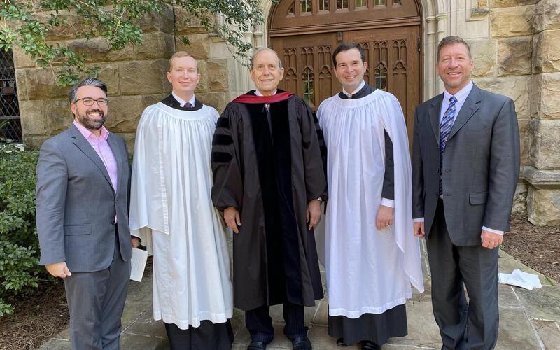 Left to right: Fred Teardo, Kenneth Miller, Thomas Murray, Paul Thomas, Dale Adelmann. Photo courtesy of Kenneth Miller, Thomas Murray.