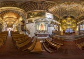Interior panorama of the Church of Huaro, Peru