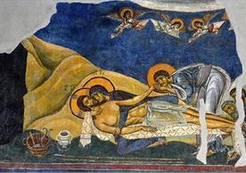 Threnos (Lamentation), 1164, fresco in the Church of St. Panteleimon, Nerezi, former Yugoslav Republic of Macedonia. Photo © 2012 by Philip Truax (M.Div. '13). Licensed for academic use only.