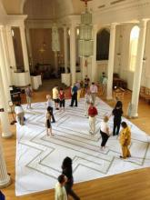 walking the labyrinth in Marquand Chapel