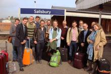 The merry band of pilgrims at Salisbury station