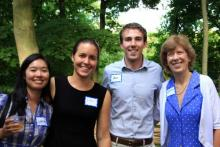 Natasha Huang, Elisabeth Spitz, Laurie Ongley (at right) with a guest