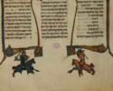 Hebrew text with illustration of two knights